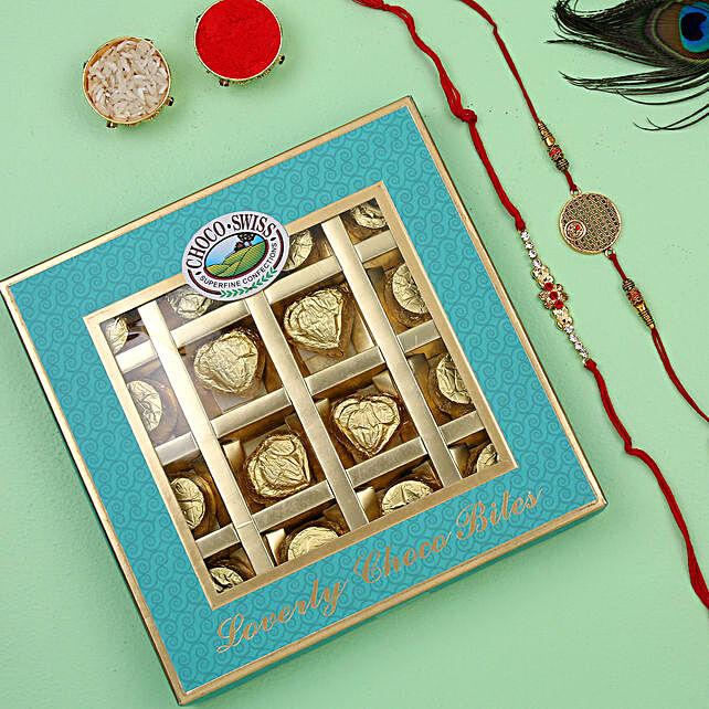 Designer and diamond rakhi with chocolates online