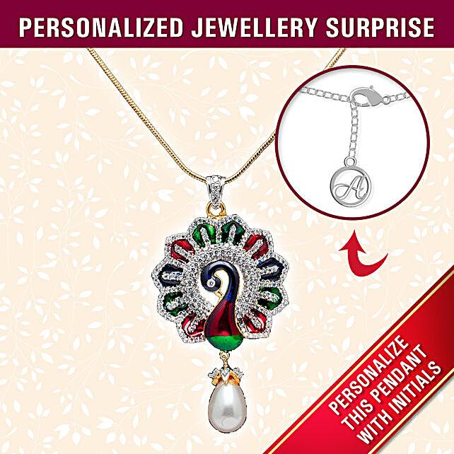 personalised peacock design pendant