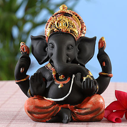online Designer Matte Black Ganesha Idol:Send Diwali Gifts For Parents