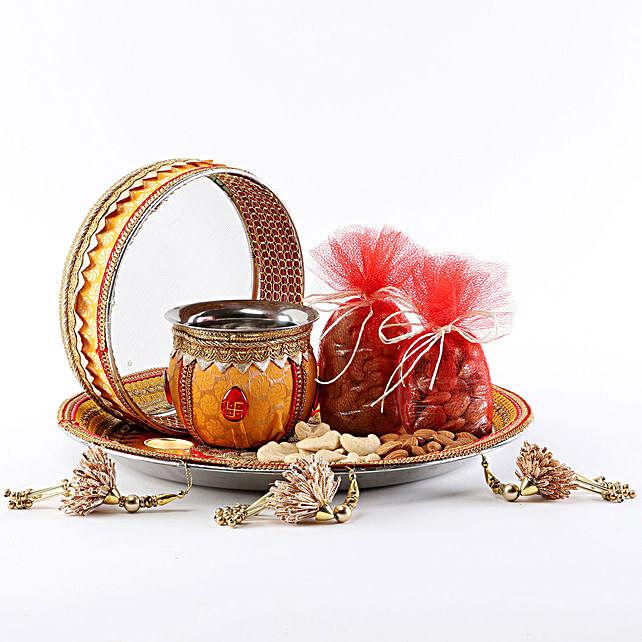 Designer Mustard Thali Set Sargi