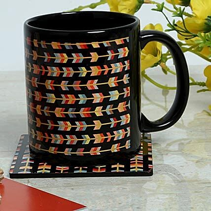 Tea coaster with ceramic black mug:Coasters
