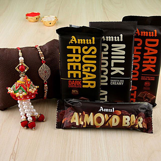 Designer Rakhi & Lumba Chocolates Combo