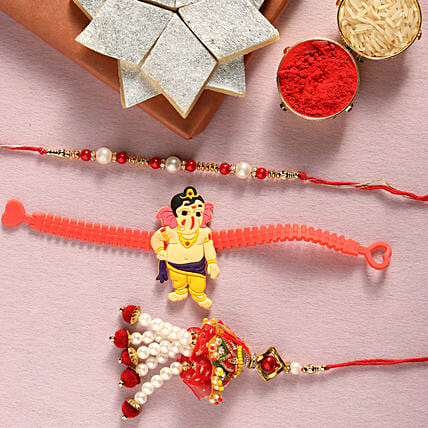 Designer rakhi set and kaju katli online