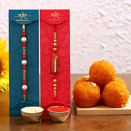 Order designer rakhi set and motichoor laddu online