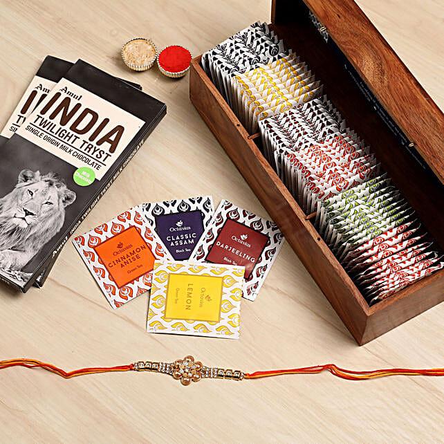 Designer Rakhi With Assorted Tea Packs & Choco:Send Rakhi With Chocolates