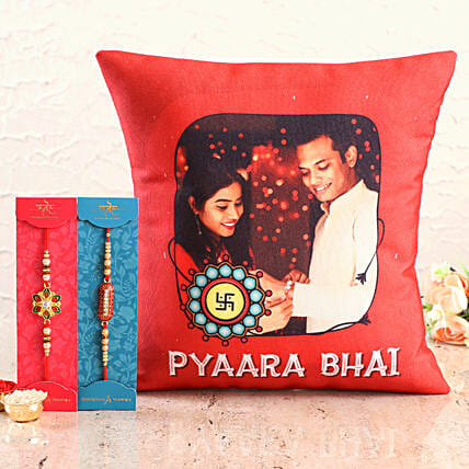 Designer Rakhis with Siblings Photo Cushion