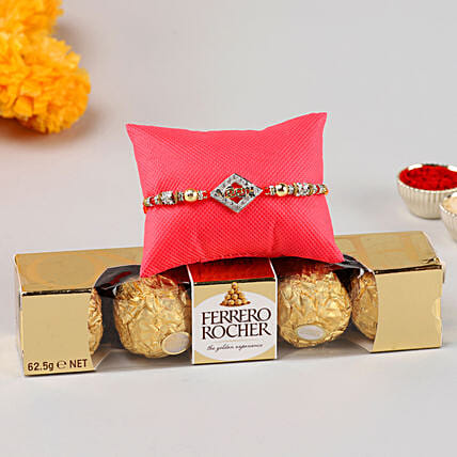 Designer Veera Rakhi & Ferrero Rocher- 4 Pcs