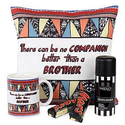 Desirable Combo For Brother-12X12 inches Cushion,1 Mug,2 Mars Chocolates 51 grams,1 Yardley Gentalman Body Spray of 150 ml