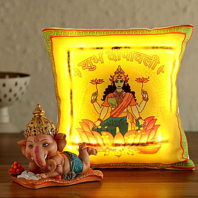 led devi laxmi printed cushion with idol online