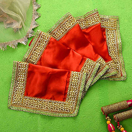 Devotional Red & Golden Chunri:Navratri Gifts