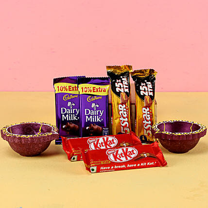 Order Diwali Chocolates With Diyas
