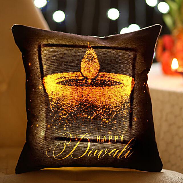 Diwali Diya Printed LED Cushion
