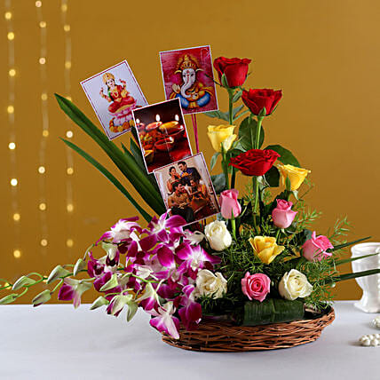 Online Diwali Special  Basket With  Photos:Send Personalised Gifts for Diwali