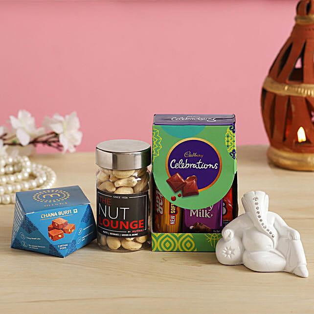 Sweets With White Ganesha N Cashews
