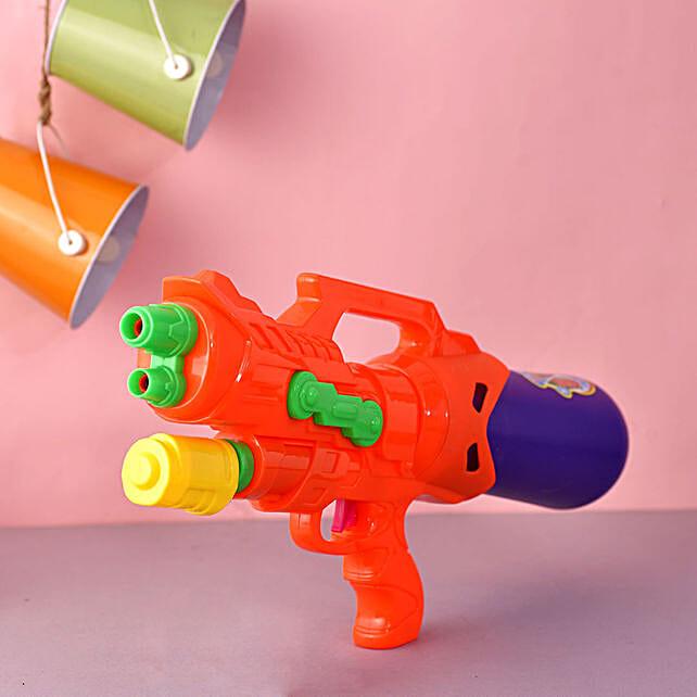 Double Barrel Orange And Blue Water Gun:Send Pichkaris