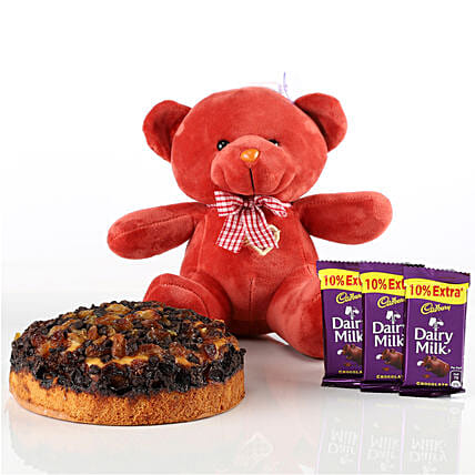 Dry Cake, Teddy & Chocolates Combo