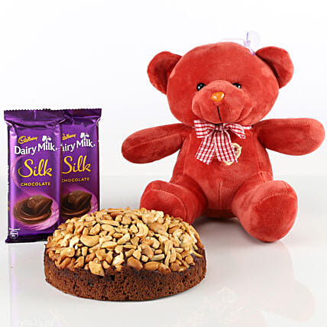 Dry Cake With Teddy Bear & Chocolates Combo