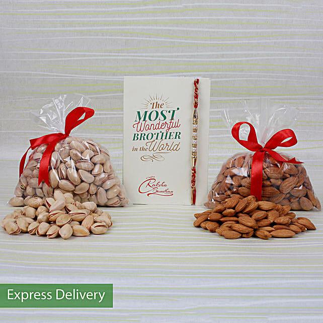 Dry Fruits Pearls Rakhi Combo