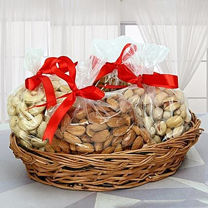 Dry fruits in a basket:Karva Chauth Sargi Gifts