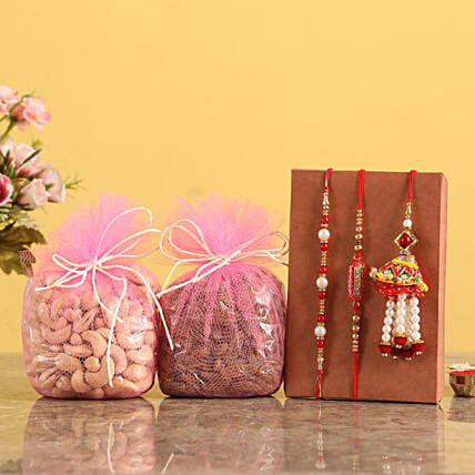 Set Of 3 Rakhis and Dry Fruits Online