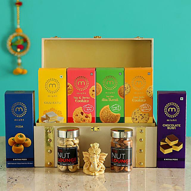 Dry Fruits & Sweet Treats Box With Ganesha Idol