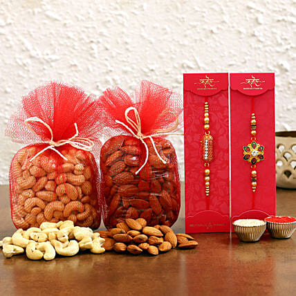 Order Meenakari and Capsule Rakhi With Dry Fruits:Rakhi with Dryfruits