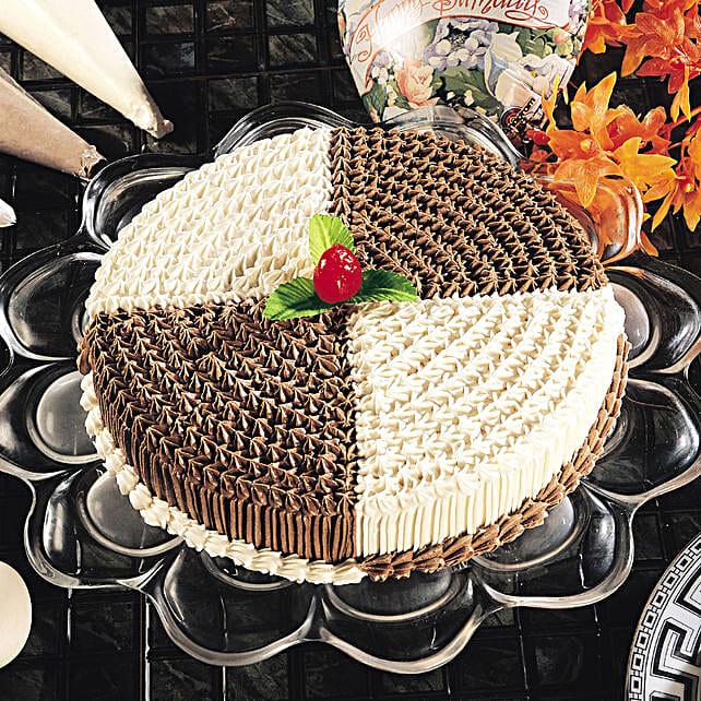 Dual Cream Chocolate Cake