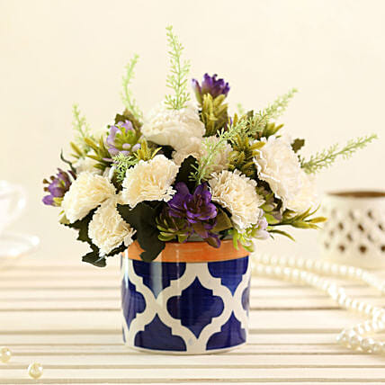 faux flower with vase arrangement