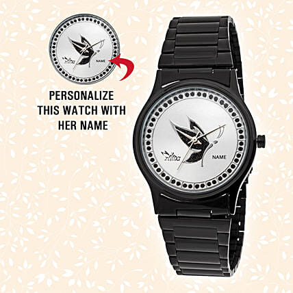 Elegant Black Personalised Watch:Personalised Wrist Watch