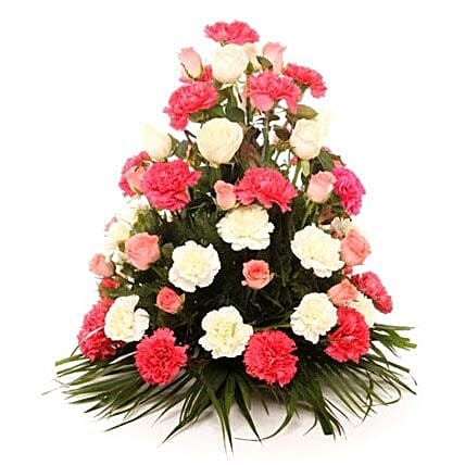 Elegant Blooms Of Sunshine - Basket arrangement of 40 mix colour flowers.