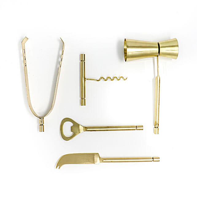 Elegant Brass Plated Bar Tools Set