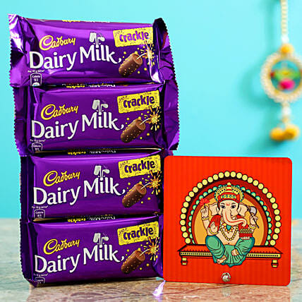 Elegant Ganesha Table Top & Dairy Milk Crackle:Buy Cadbury Chocolates