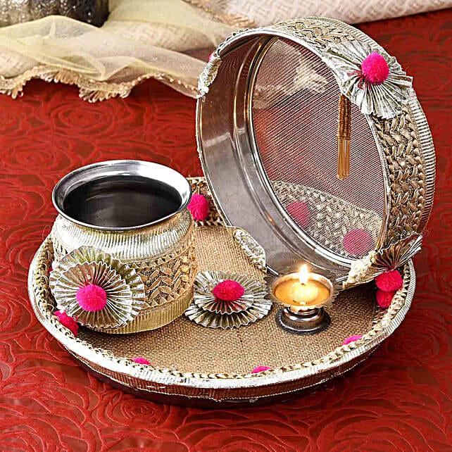 Elegant Karwa Chauth Pooja Thali Set