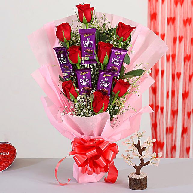 Elegant Roses Bouquet With Pink Rose Quartz Wish Tree