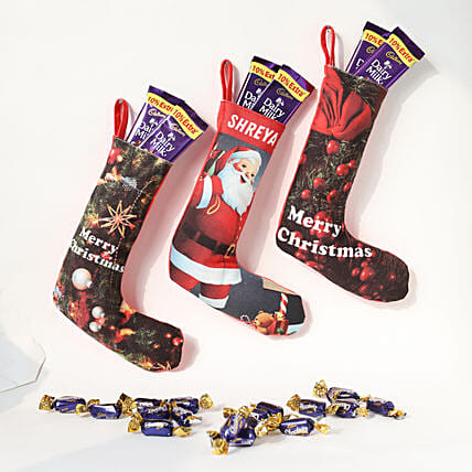 Christmas combo of hanging socks with chocolates