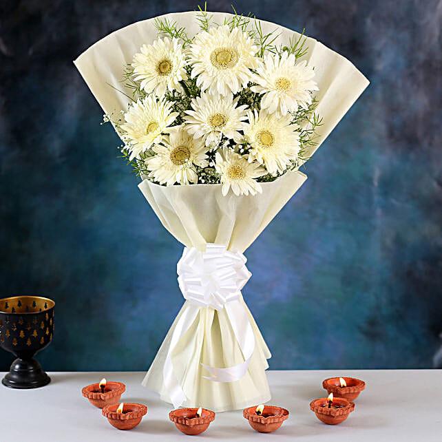 Elegant White Gerberas Bouquet & Clay Diyas