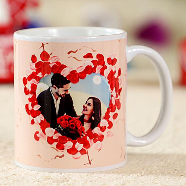 Enchanting White Personalised Mug:Send Hug Day Personalised Gifts