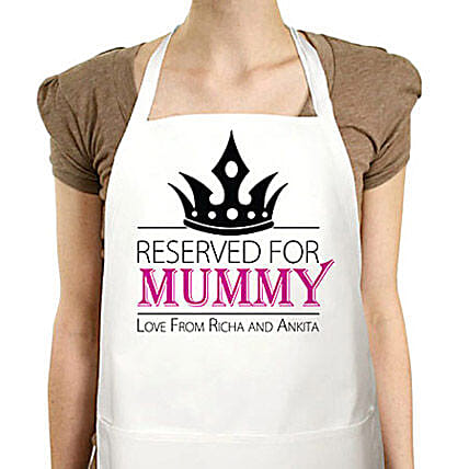 The Secret Of Super Mom-Personalised special white apron:Personalised Gifts Ambala