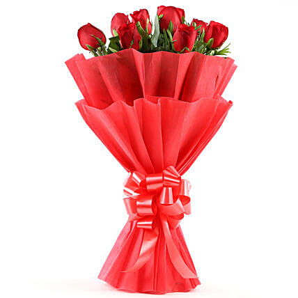 Enigmatic 8 Red Roses Flowers gifts:Send Good Luck Flowers