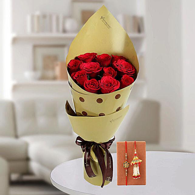 Online Enticing Red Roses & Bhaiya Bhabhi Rakhi