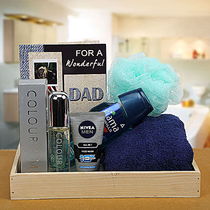 Combo of greeting card, perfume, towel, face wash and shower gel for dad