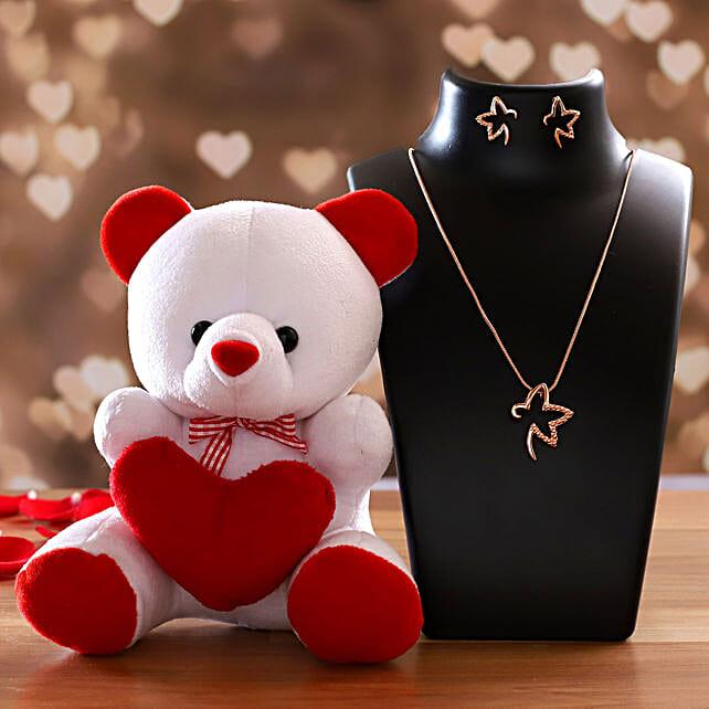 Estele 24 Karat Rose Gold Pendant Set And Cute Teddy