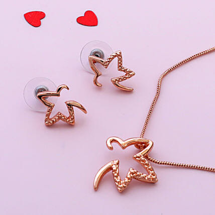 Estele 24 Karat Rose Gold Pendant Set:Jewellery Gifts