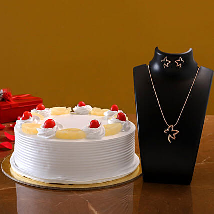 Estele Rose Gold Pendant Set And Pineapple Cake:Jewellery Gifts