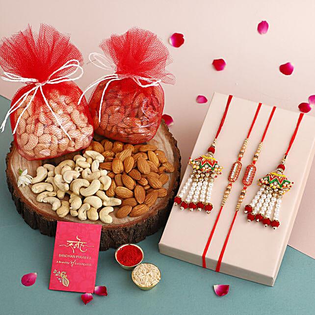 online traditional rakhi set n dryfruit combo