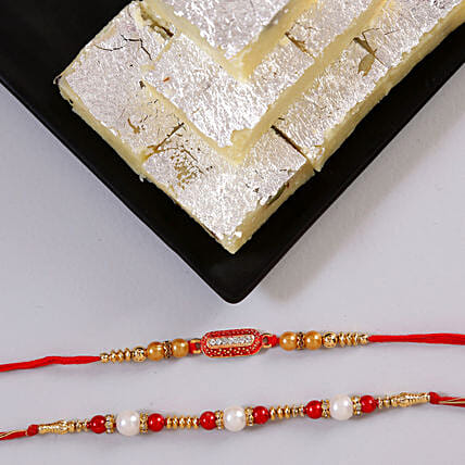 Online Pair Of Rakhi With Khoya Burfi