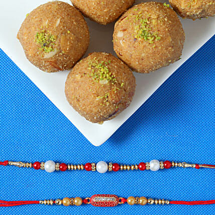 best pearl rakhi with besan laddu online