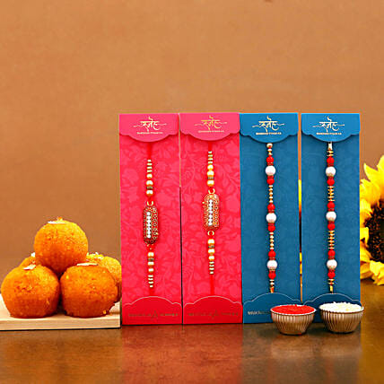 exclusive ethnic pearl rakhi set with sweet online:Rakhi with Sweets