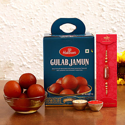 Online  Ethnic Rakhi With Gulab Jamun Sweets