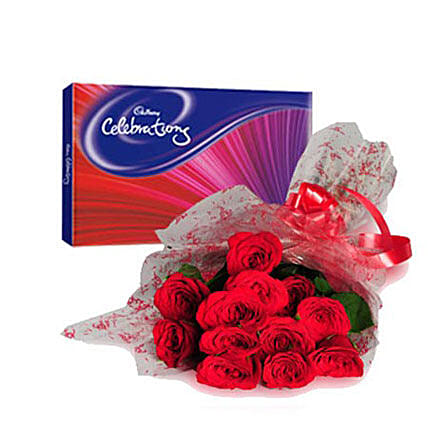 Bouquet of red roses and chocolates:Send Flowers to Nizamabad